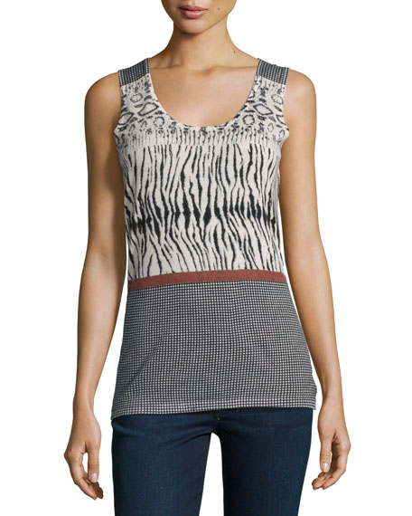 Neiman Marcus Cashmere Collection Animal-Stripe-Print Cashmere Tank