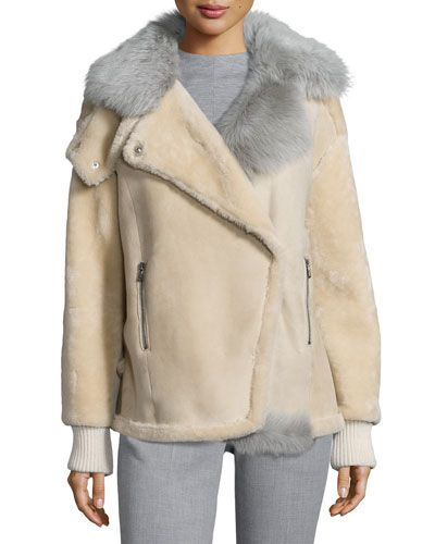 Ribbed-Trim Fur Coat, Ivory