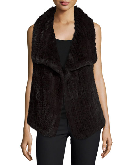 Neiman Marcus Cashmere Collection Draped Hare Fur & Cashmere Vest