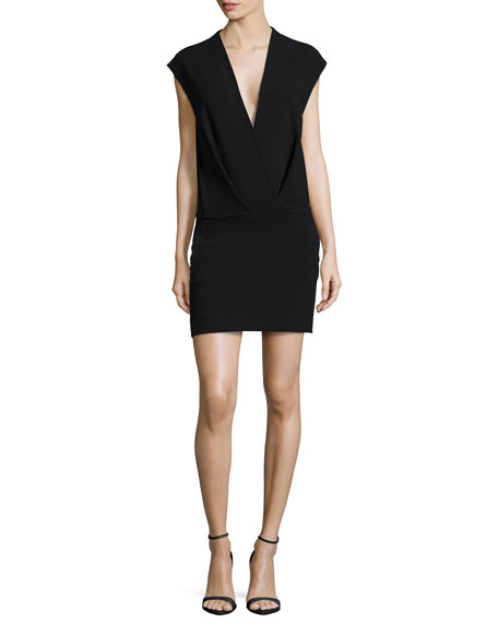 L'Agence Cara V-Neck Cap-Sleeve Dress, Black