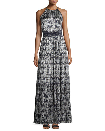 Penelope Pleated Printed Satin Maxi Dress