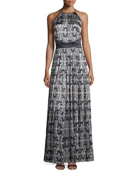 L'Agence Penelope Pleated Printed Satin Maxi Dress