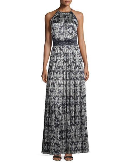 L'Agence Penelope Pleated Printed Satin Maxi Dress
