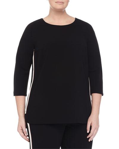 Marina Rinaldi Fascia 3/4-Sleeve Comfort Top W/ Piping, Women's