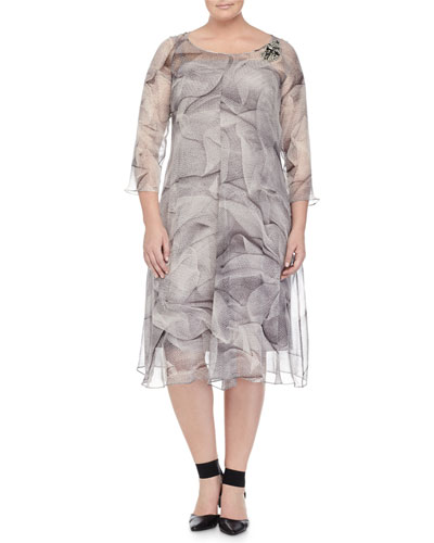 Marina Rinaldi Dorothy Soft Printed Dress W/ Brooch,