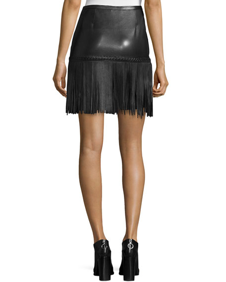 L'Agence Leo Leather Fringe Skirt, Black