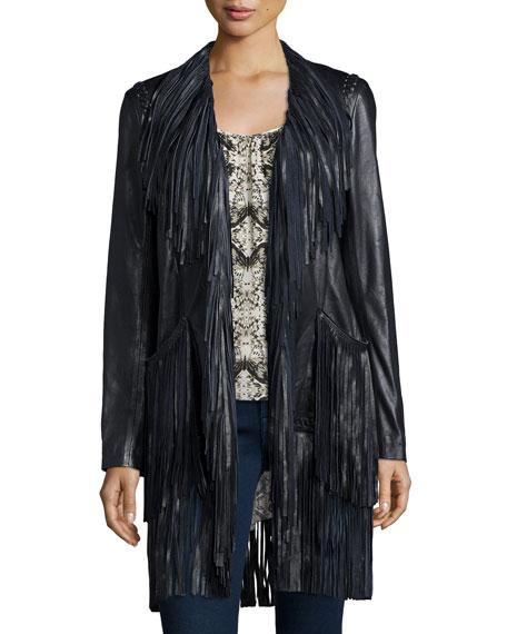L'Agence Adelle Fringe Leather Jacket, Black