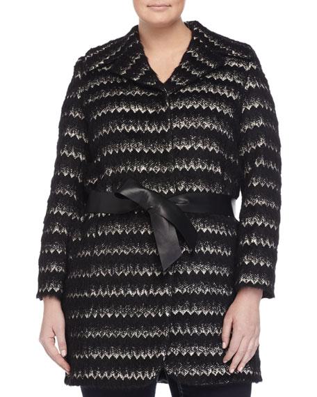 Marina Rinaldi Nastro Alpaca-Blend Jacquard Belted Jacket
