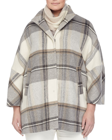 Marina Rinaldi Naturale Plaid Cape Coat, Plus Size