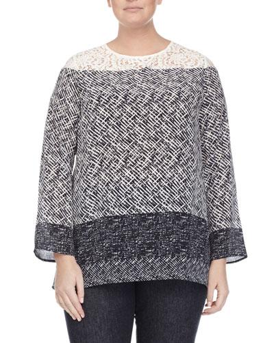 Marina Rinaldi Batavia Scarf-Print Silk Tunic Blouse, Women's