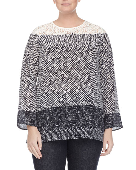 Marina Rinaldi Batavia Scarf-Print Silk Tunic Blouse, Plus