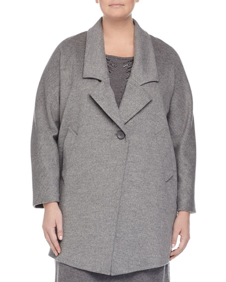 Marina Rinaldi Nobile Wool One-Button Jacket, Gray, Plus