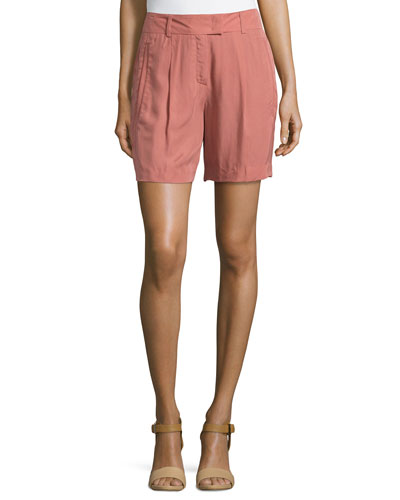 Pleated-Front Woven Shorts, Litchi