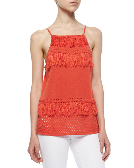 Townsen Manila Knit Fringe Tank, Blood Orange