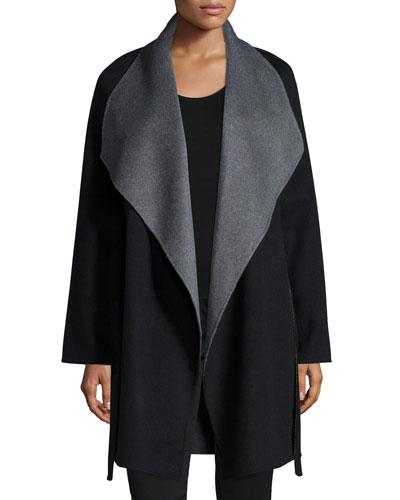 Double-Face Two-Tone Wrap Coat