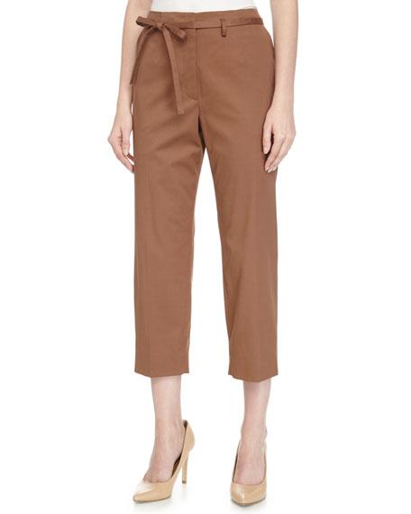 Escada Low-Rise Woven Pants w/Belt, Vermillion
