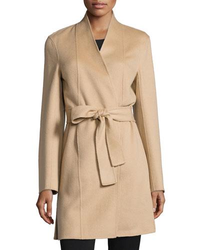 Double-Face Woven Cashmere Coat, Camel