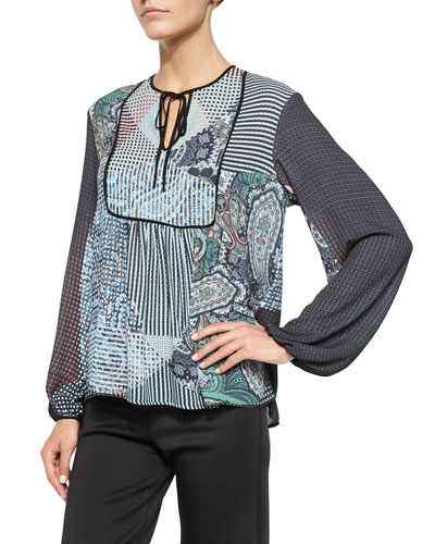 Kaleidoscope Paisley Printed Peasant Top
