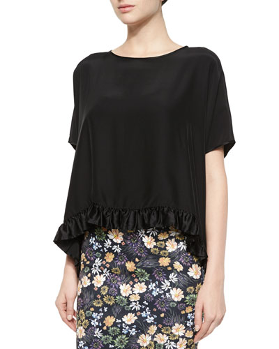 Flowy Ruffle-Trim Top, Black