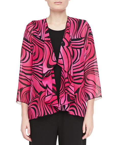 Caroline Rose Groovy Swirl Drape Jacket, Stretch Knit