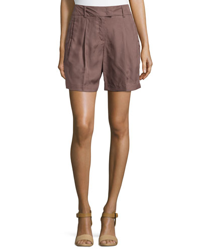 Pleated-Front Woven Shorts, Henna