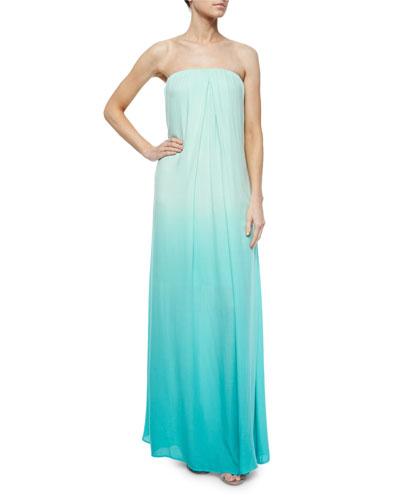 Karissa Strapless Ombre Maxi Dress, Turquoise