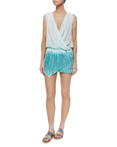 Sleeveless Sinta Watercolor Romper, Turquoise