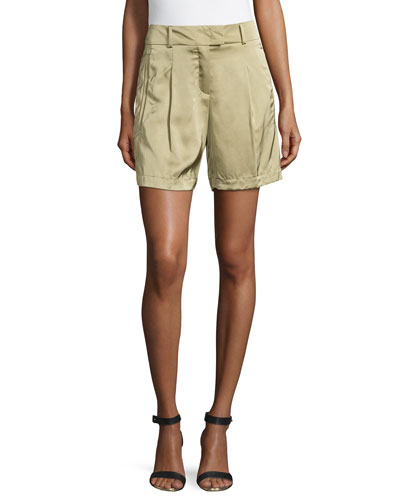 Pleated-Front Woven Shorts, Cactus