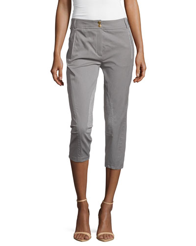 Capri Slim-Leg Riding Pants, Graphite