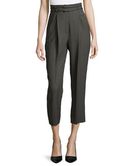 High-Waist Pleated-Front Cropped Pants, Granite