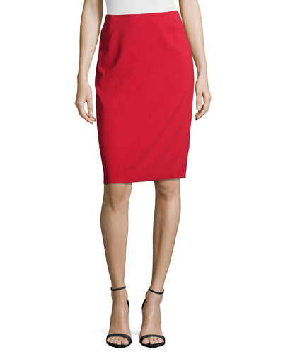Mid-Rise Pencil Skirt, Lacquer