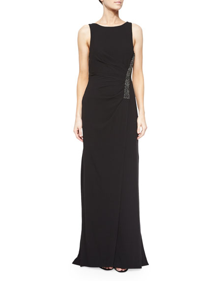 Halston Heritage Ruched Sleeveless Gown w/ Rhinestones, Black
