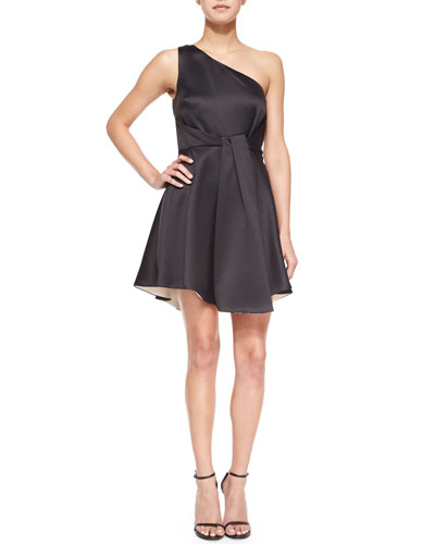 Satin One-Shoulder Dress, Black