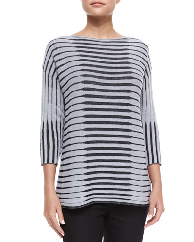 3/4-Sleeve Bicolor Striped Jacquard Sweater