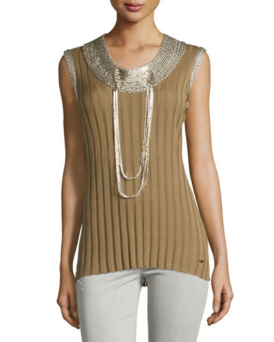 Embellished Sleeveless Top, Cactus