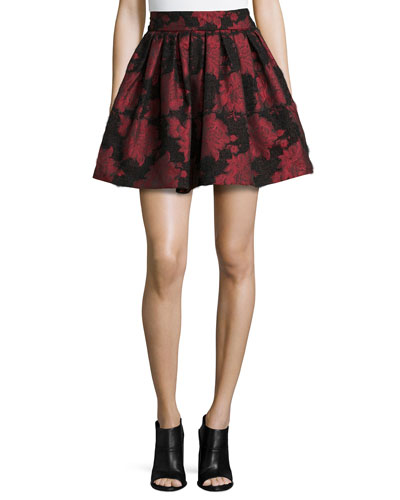 Stora Floral-Jacquard Pleated Skirt