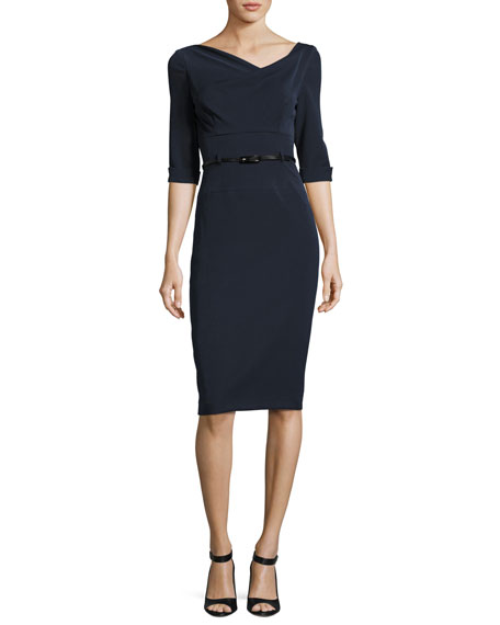 Black HaloJackie 3/4-Sleeve Sheath Dress