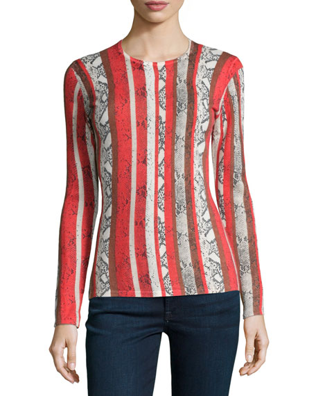 Neiman Marcus Cashmere Collection Snake-Stripe-Print Cashmere sweater