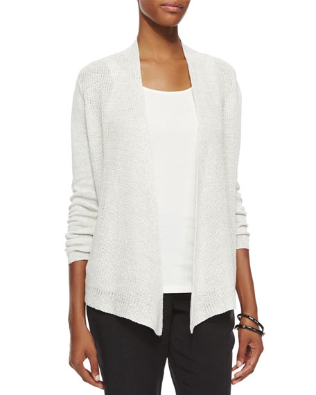 Linen Ribbed Open Cardigan, Plus Size