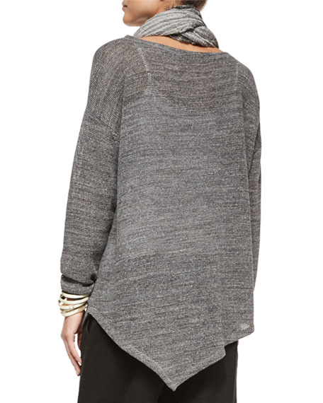 Melange Cotton Mesh Asymmetric Tunic