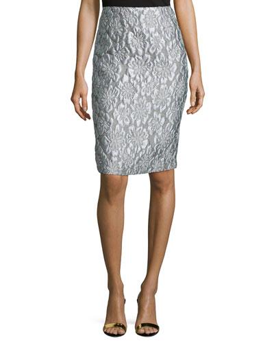 Floral Brocade Pencil Skirt