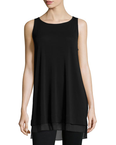 Sleeveless Jersey Shell W/Chiffon Trim