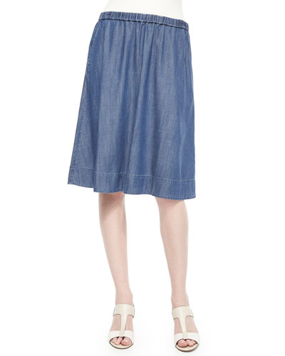 Gathered Denim A-line Skirt