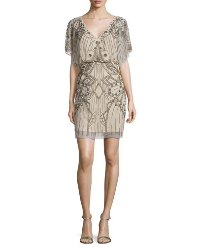 Short-Sleeve Sequined & Beaded Blouson Dress