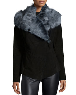 Suede Jacket with Wide Fur Collar