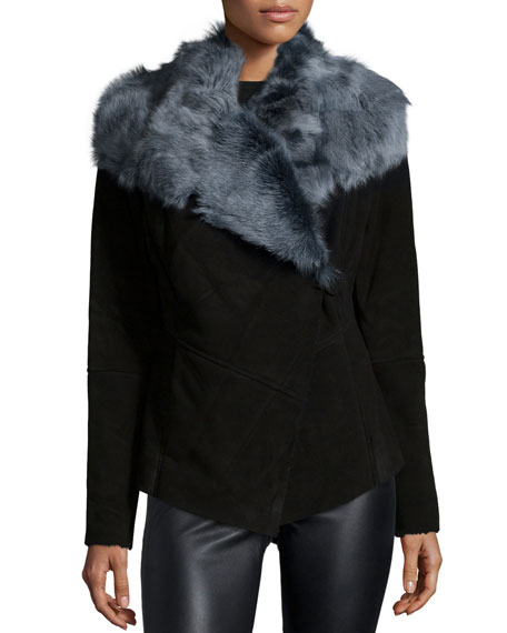 Bagatelle Suede Jacket With Wide Fur Collar Neiman Marcus