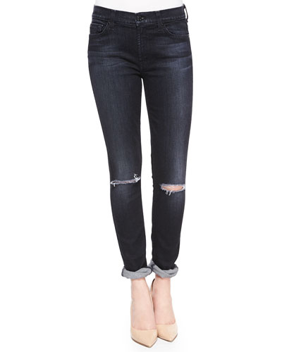 The Skinny Distressed Jeans, Icy Black