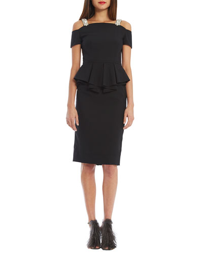 Embellished-Neck Peplum Sheath Dress, Black