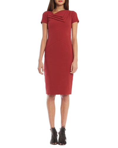 Spiga Short-Sleeve Neck-Flap Sheath Dress