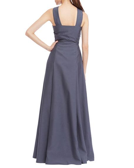 Halter Beaded-Waist Gown W/ Ruffle